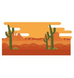 desert with cactus scenery vector image