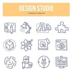 Design studio doodle icons vector