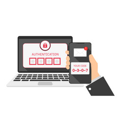 Devices laptop and phone sms authentication code vector