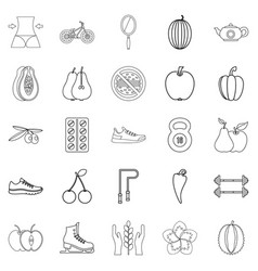 Dietary icons set outline style vector