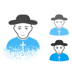 disappearing dotted halftone christian priest icon vector image