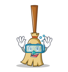diving broom character cartoon style vector image