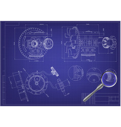 Drawing and 3d model gear mechanism on a blue vector