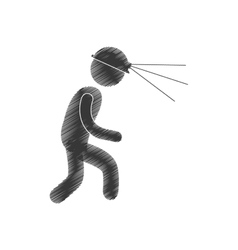 drawing worker mining helmet light head figure vector image