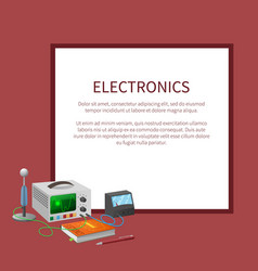 Electronics banner with place for text in frame vector