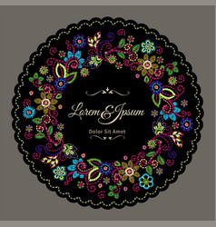 embroidery vintage border with beautiful flowers vector image