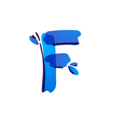 F letter eco logo with blue water drops vector