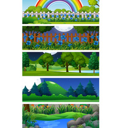 Five nature scenes with trees vector