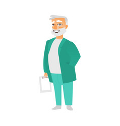 Flat grey-haired doctor holding clipboard vector