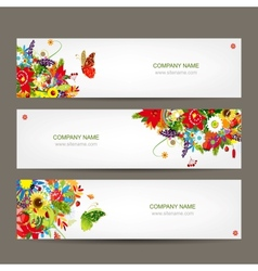 Floral style banners for your design vector image