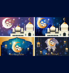 Four background designs for muslim festival eid vector