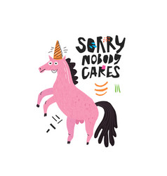 funny horse hand drawn flat color vector image