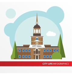 Goverment building icon in the flat style City vector image