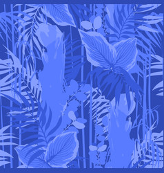 Graphic seamless pattern of exotic leaves and vector