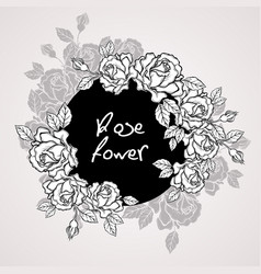 hand drawn rose flower wreath vintage style vector image