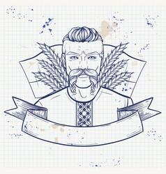 Hand drawn sketch ukrainian kozak poster flyer vector