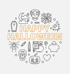 happy halloween round outline minimal vector image