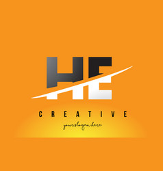 He h e letter modern logo design with yellow vector