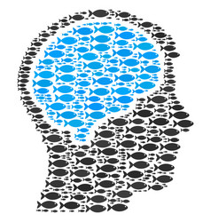 head brain composition of fish icons vector image