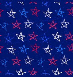 ink hand drawn seamless pattern with stars in vector image