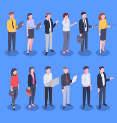 isometric business office people bank employee vector image