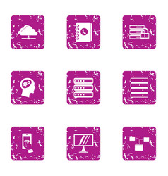 It data icons set grunge style vector