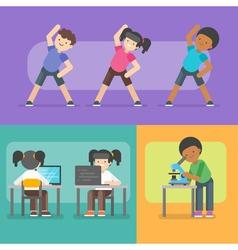 Kids activities at school vector