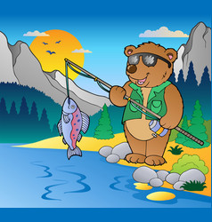 lake with cartoon fisherman 2 vector image