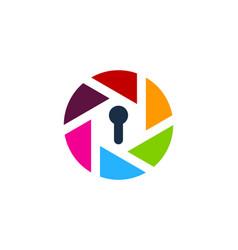 lens security logo icon design vector image