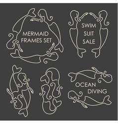 Line art mermaids logo set on grey background vector