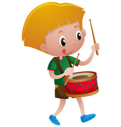Little boy playing drum vector