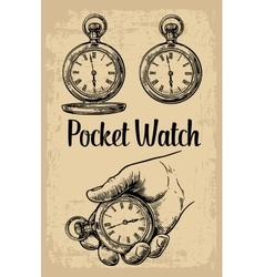Male hand holding antique pocket watch hold hand vector