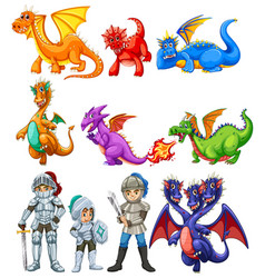 Many dragons and knights on white background vector