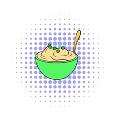 Mashed potatoes in a bowl icon comics style vector