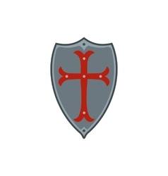Medieval shield with red cross icon flat style vector
