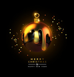 merry christmas 3d luxury gold drip ball ornament vector image