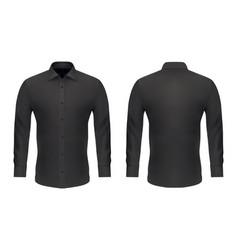 mockup template men black classic dress shirt vector image