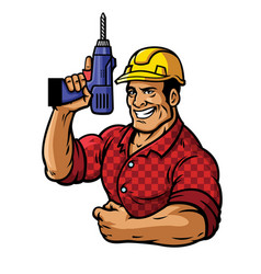Muscular construction worker with drill vector