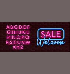 neon banner alphabet font bricks wall sale vector image