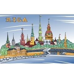 Old Town and River Daugava Riga Latvia vector image