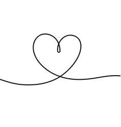 one line heart romantic scribble hand drawn vector image