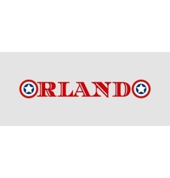 Orlando city name with flag colors styled letter O vector