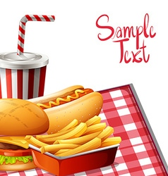 Paper design with fastfood on table vector