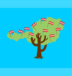 patriotic tree austria map austrian flag national vector image