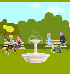 people are sitting on a bench in the park vector image