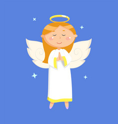 portrait view praying angel in dress vector image