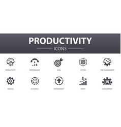 Productivity simple concept icons set contains vector