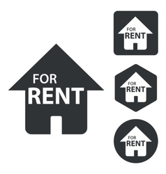 Rental house icon set monochrome vector
