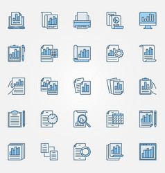 report blue icons set documents creative vector image
