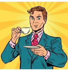 Retro businessman drinking tea vector image